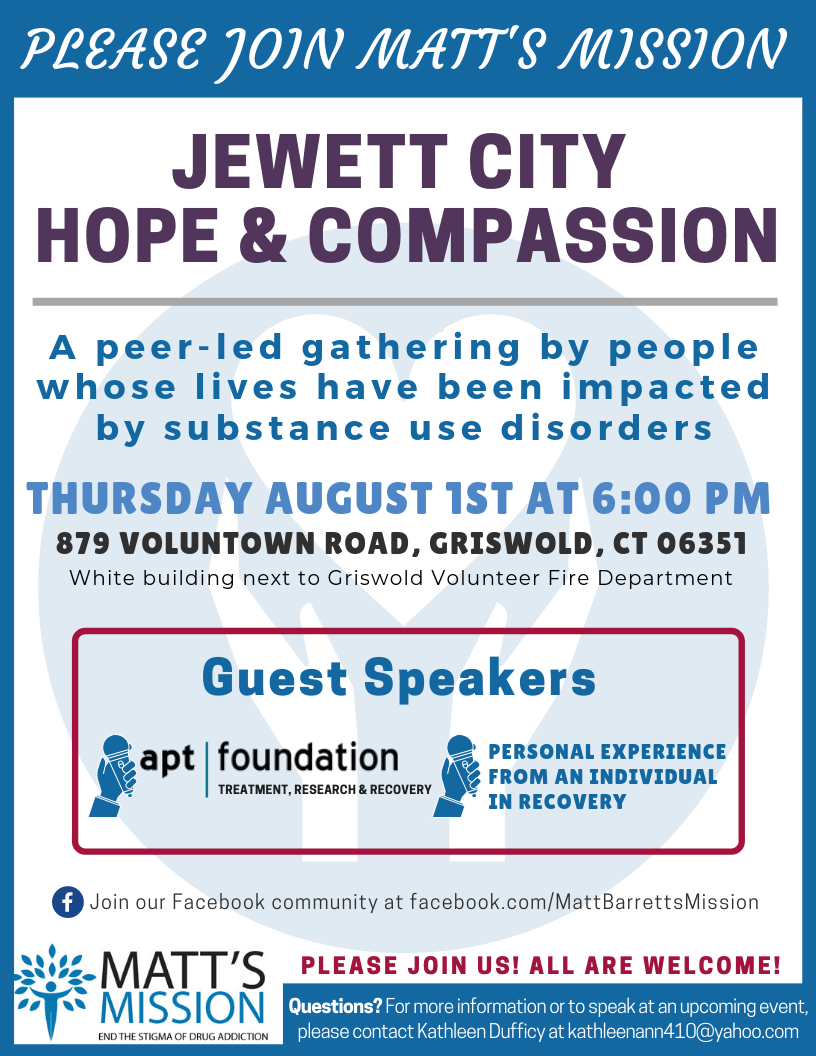 Join us for Jewett City Hope and Compassion on August 1st, 2019.