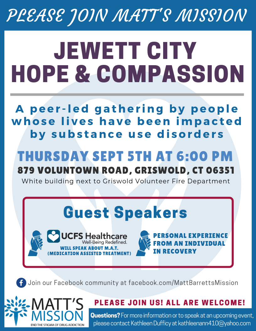 Join us for Jewett City Hope and Compassion on September 5th, 2019.