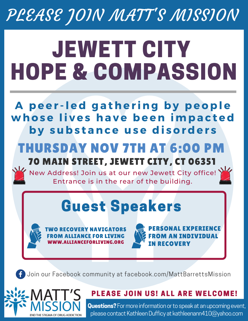 Join us for Jewett City Hope and Compassion on November 7th, 2019.