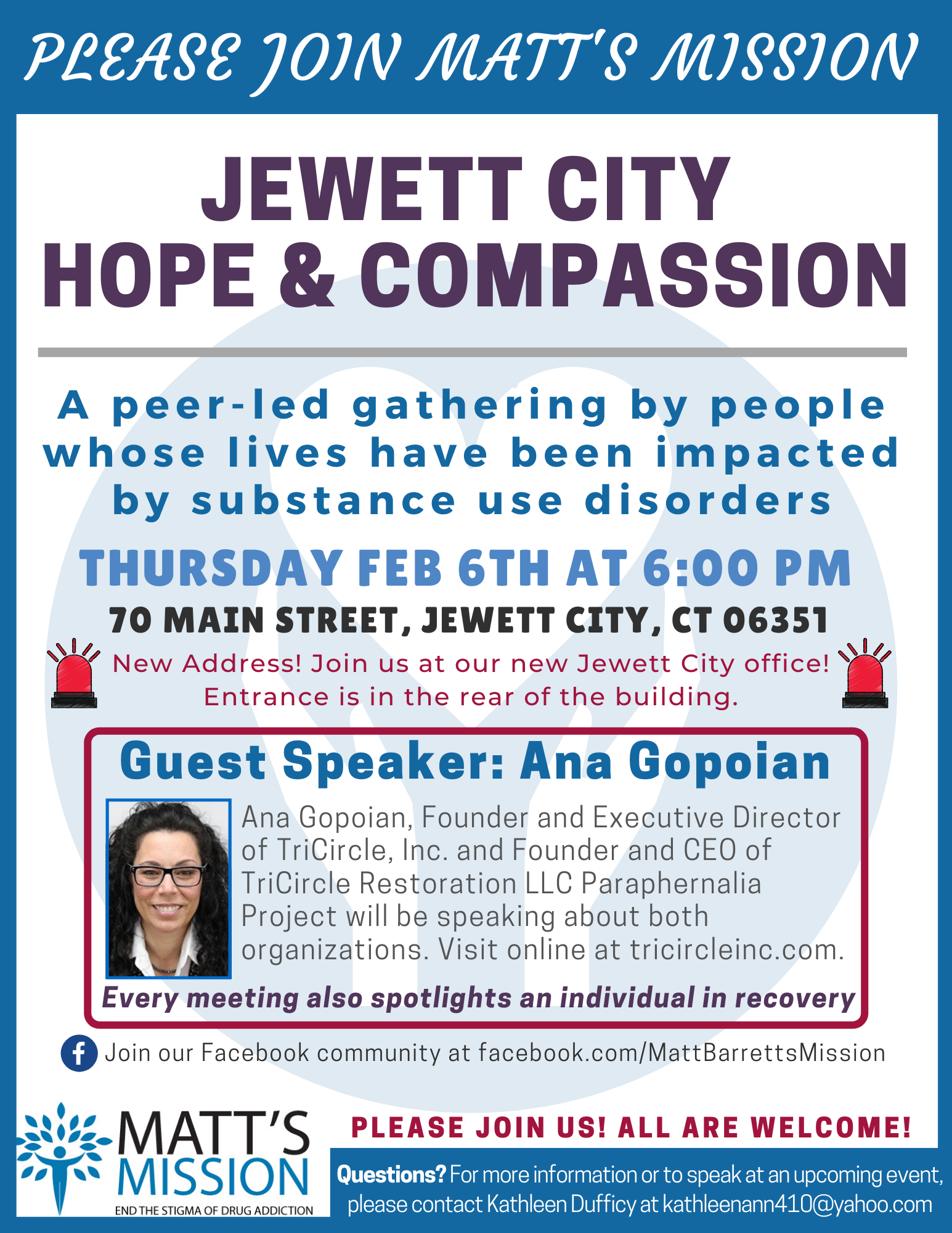 Join us for Jewett City Hope and Compassion on February 6th, 2020.