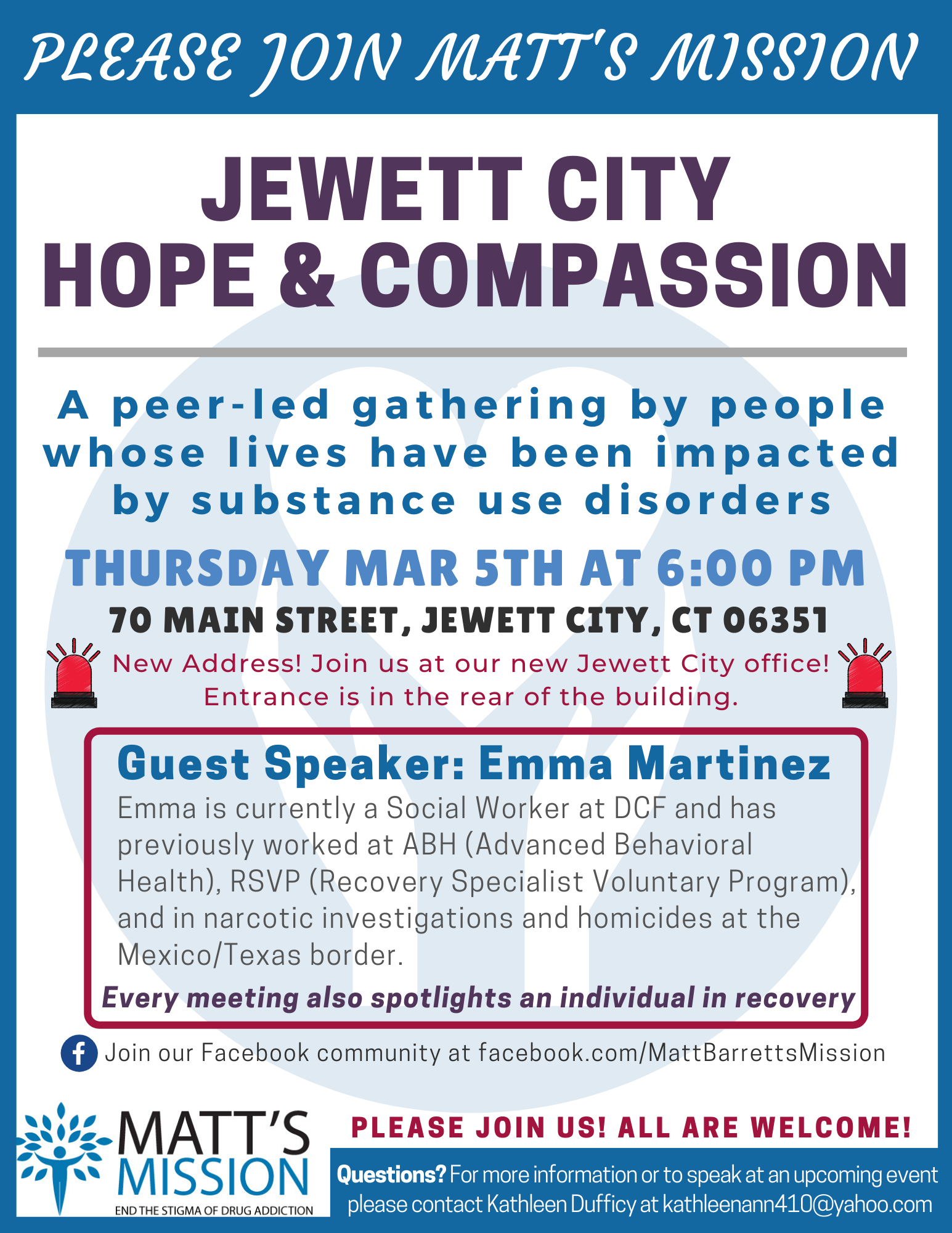Join us for Jewett City Hope and Compassion on March 5th, 2020.