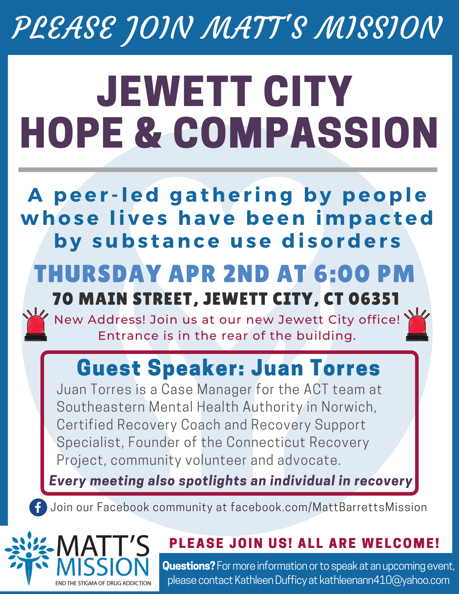 Join us for Jewett City Hope and Compassion on April 2nd, 2020.