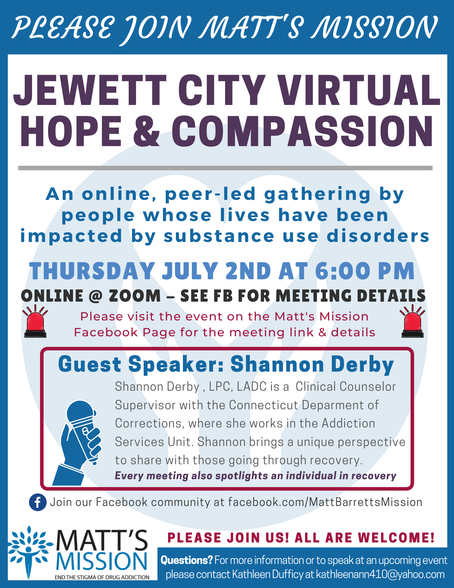 Join us for Jewett City Hope and Compassion on July 2nd, 2020.
